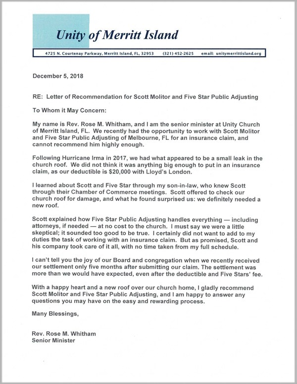 Unity Testimonial Letter for Five Star Claims Adjusting