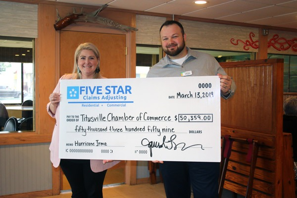 Five Star Settlement Claim for Titusville Chamber of Commerce