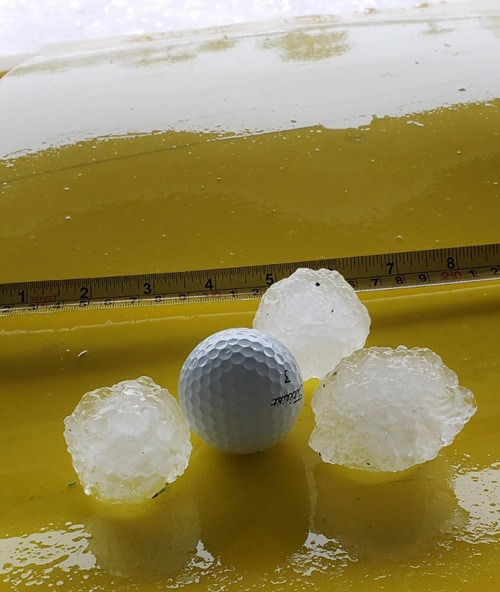 Brevard County Hail Storm with Golf Ball